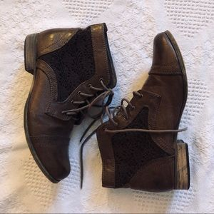 Brown Leather Ankle Boots w/ Lace Detail